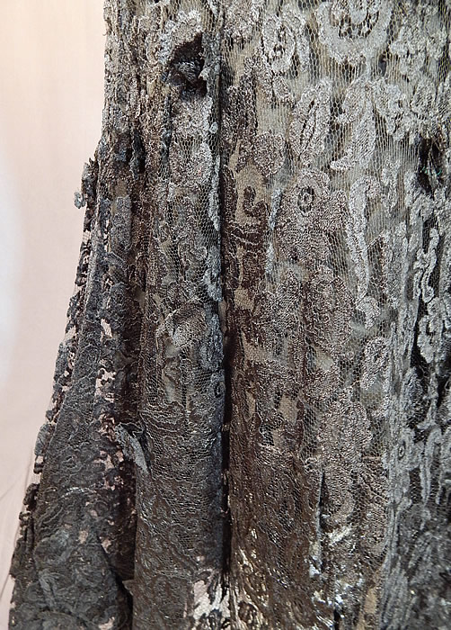 Vintage Franklin Simon Black Lace Sheath Dress Fishtail Mermaid Evening Gown