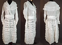 Edwardian White Cotton Organdy Ruffled Fichu Belted Dress Tea Gown