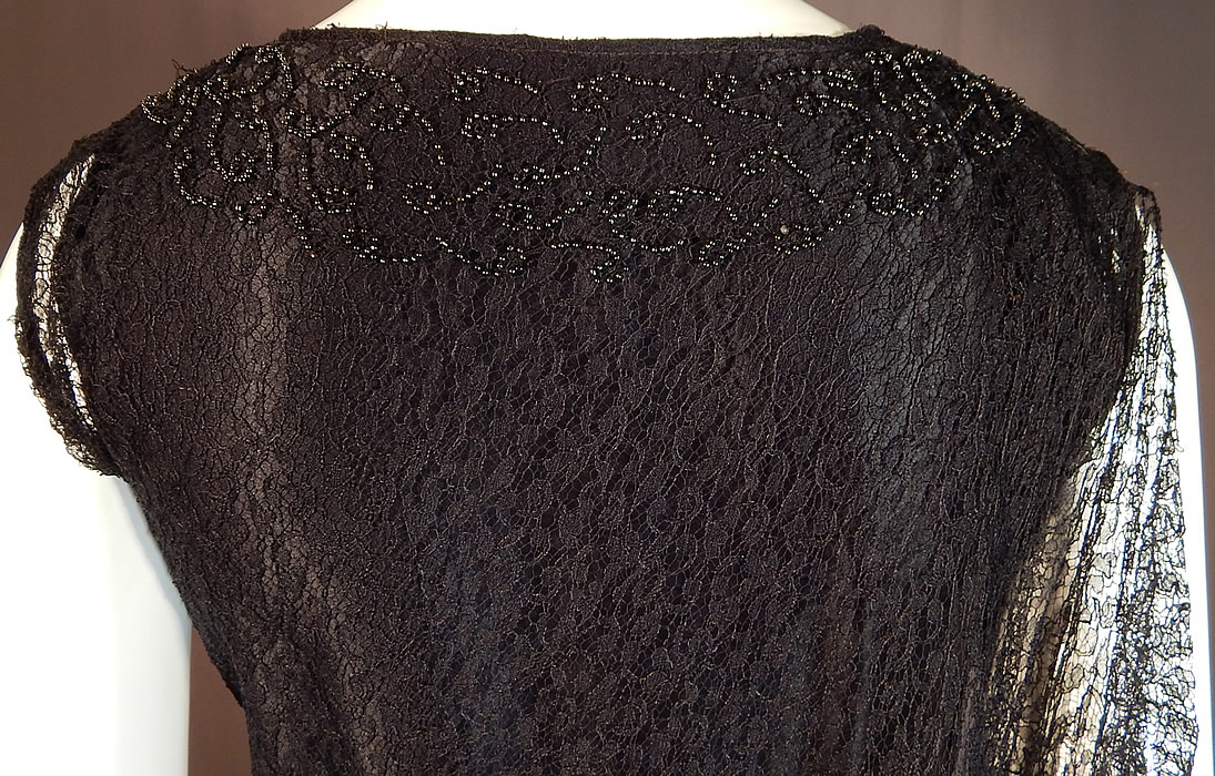 Vintage Black Silk Cobweb Lace Beaded Bias Cut Asymmetrical Evening Gown Goth Dress