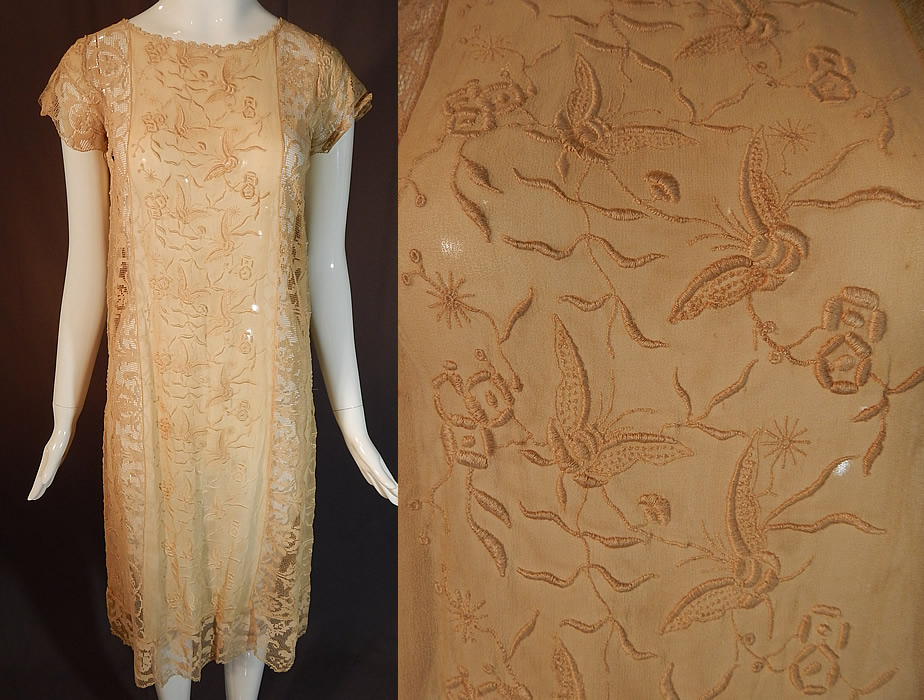 Vintage Butterfly French Knot Embroidered Ecru Silk Filet Lace Chemise Shift Dress
