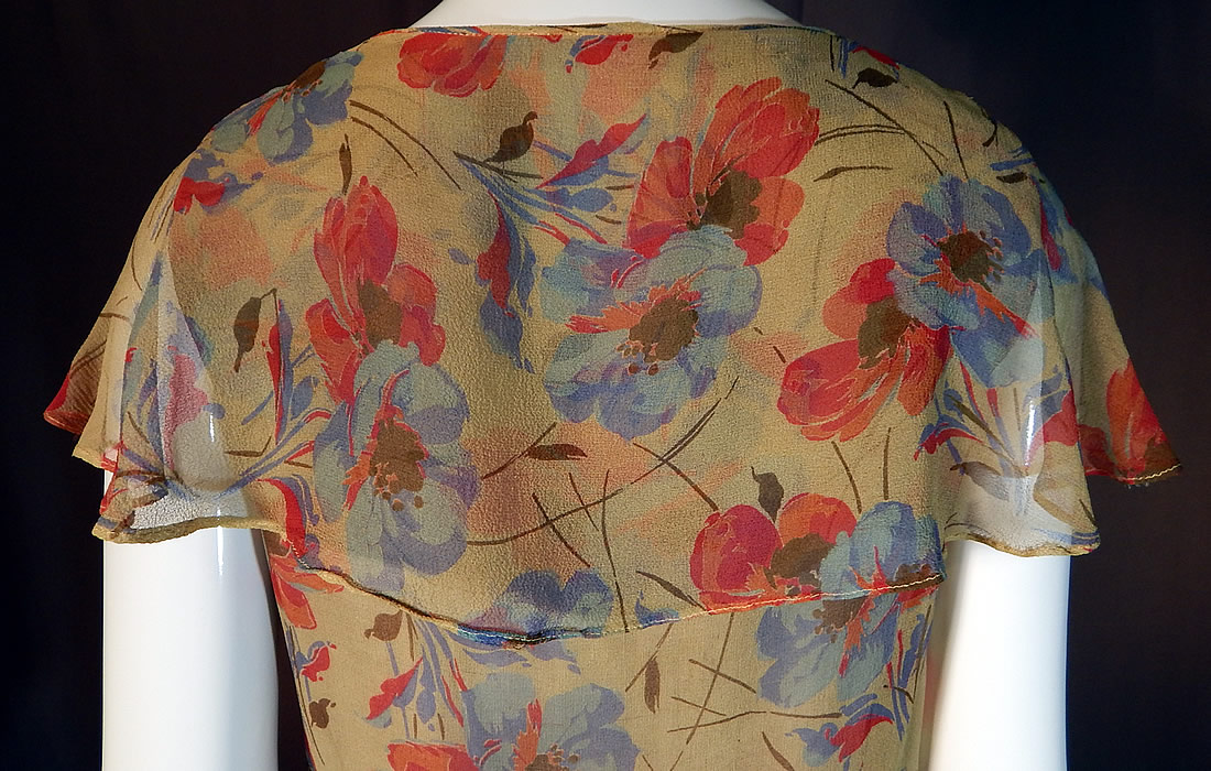 Vintage Blue Pink Poppy Floral Print Silk Chiffon Shawl Collar Cape Bias Cut Dress