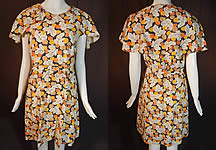 Vintage Autumn Fall Leaf Brown Polka Dot Print Cotton Shawl Collar Belted Dress
