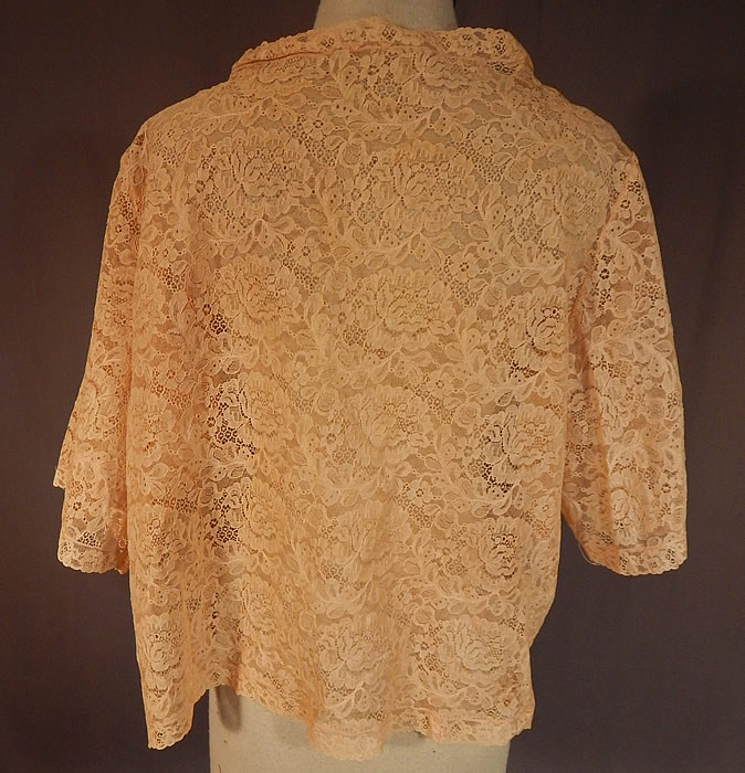 Vintage Silk Pastel Rosette Trim Cream Lace Bolero Boudoir Bed Jacket