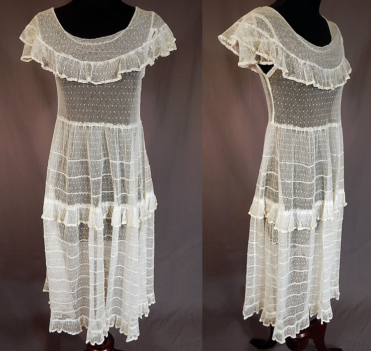 Vintage Swiss Polka Dot White Tulle Net Lace Shawl Collar Capelet Dress
