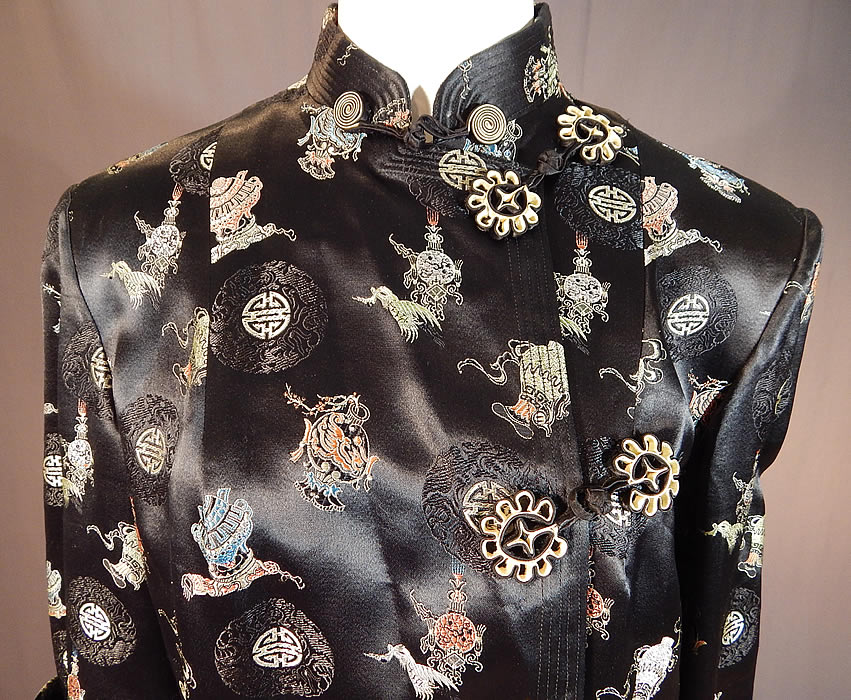 Vintage Hong Kong Chinese Character Ji Lucky Black Silk Damask Coat Jacket