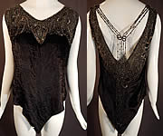 Vintage Art Deco Black Velvet Silver Studded Beaded Fringe Flapper Blouse Top