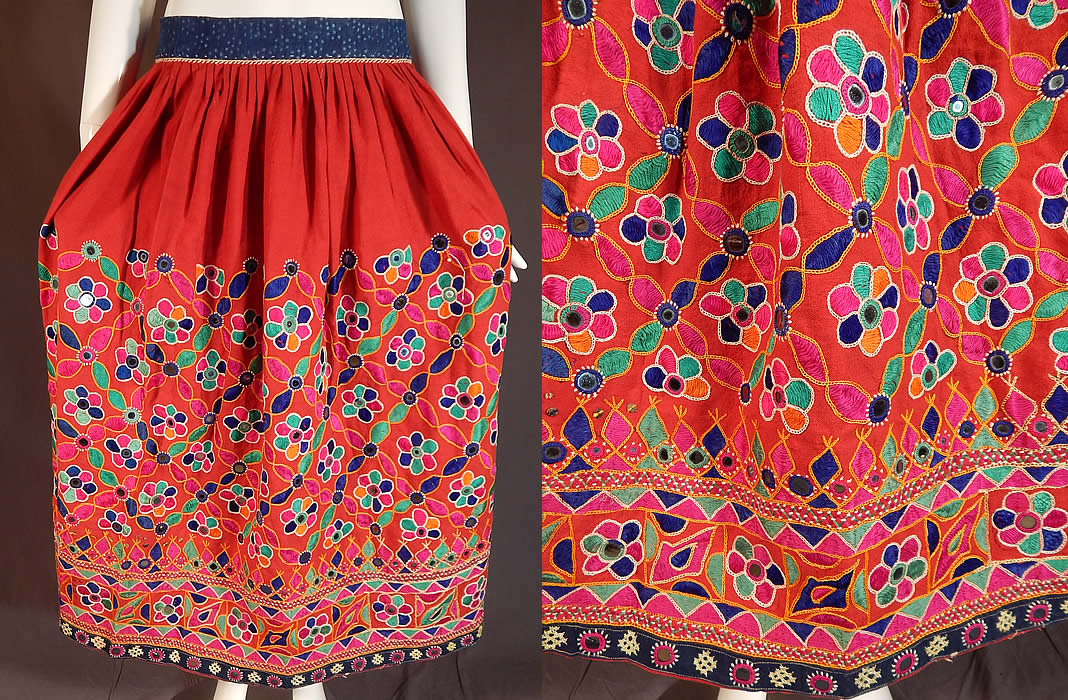 Vintage Afghanistan Ahir Banjara India Ghagra Kutch Mirrorwork Embroidery Skirt