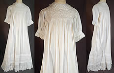 Victorian Broderie Anglaise Eyelet Cotton Batiste Baptism Christening Gown Dress