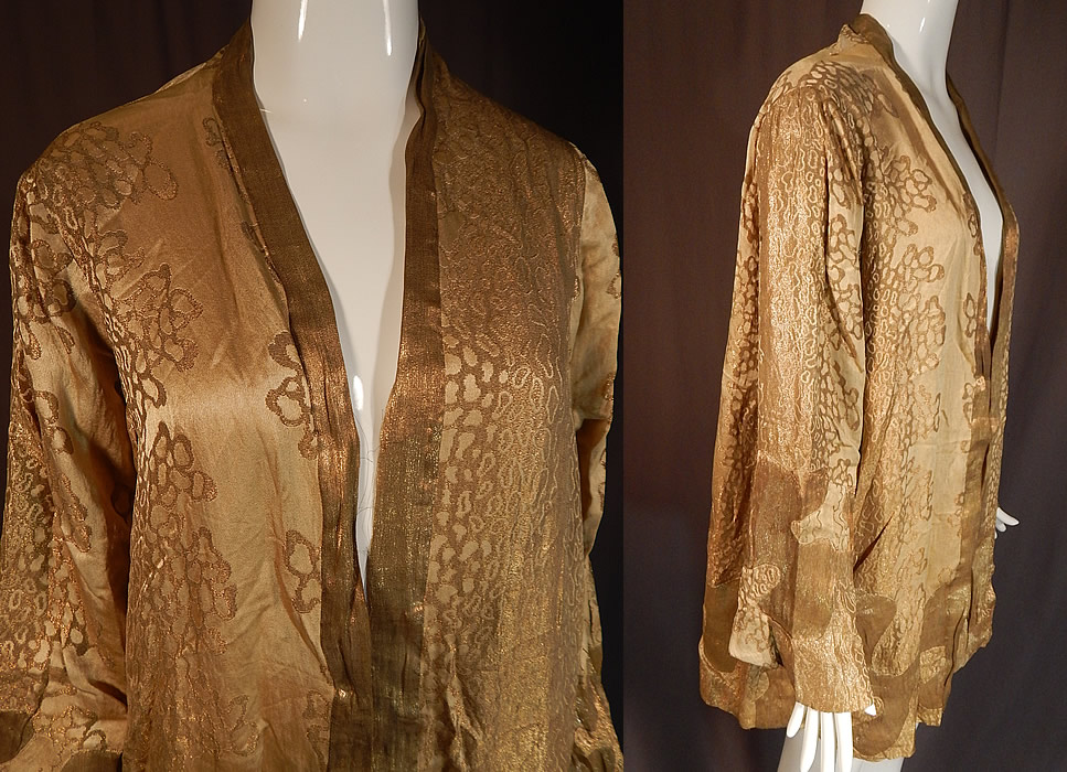 Vintage Art Deco Applique Pattern Gold  Lame Long Flapper Coat Jacket