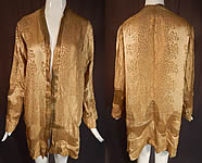 Vintage Art Deco Applique Pattern Gold Lamé Lame Long Flapper Coat Jacket