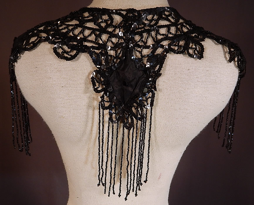 Victorian Black Silk Sequin Jet Beaded Fringe Shawl Collar Dress Trim
