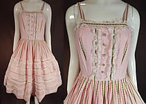 Vintage Pink & White Striped Cotton Lace Ribbon Trim Lolita Style Circle Skirt Dress