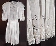 Vintage Edwardian White Cotton Broderie Anglaise Eyelet Embroidery Girls Dress