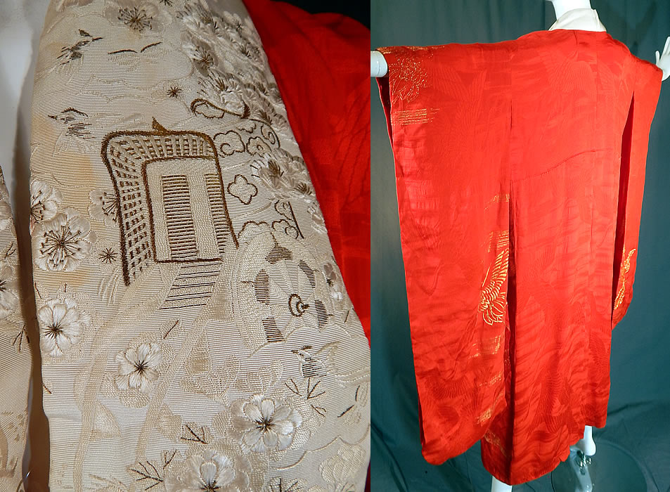 Vintage Japanese Red Silk Gold Embroidered Cranes Furisode Ceremonial Kimono