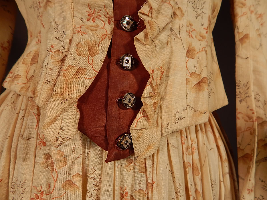 Victorian Brown Cream Cotton Muslin Floral Print Prairie Dress Bodice Skirt