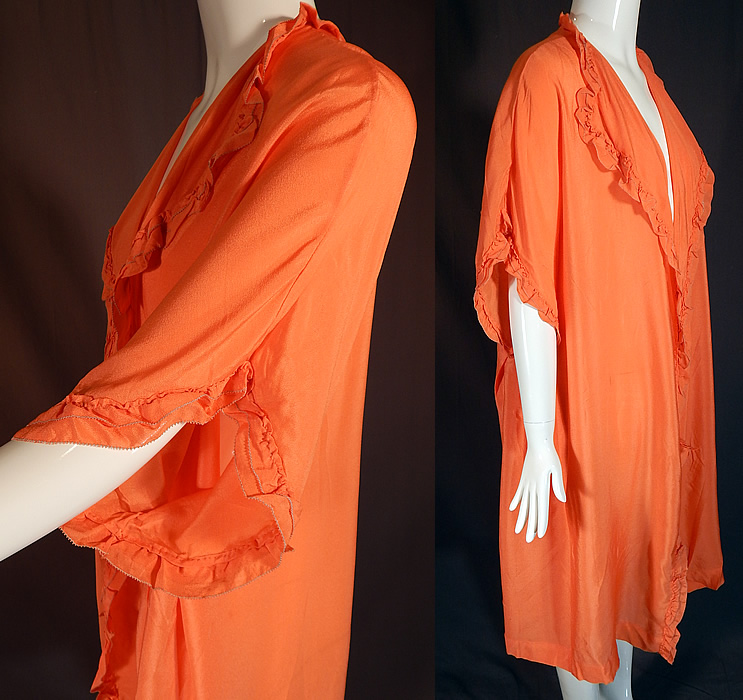Vintage Orange Silk Ruffle Boudoir Lingerie Flapper Peignoir Dressing Gown Robe