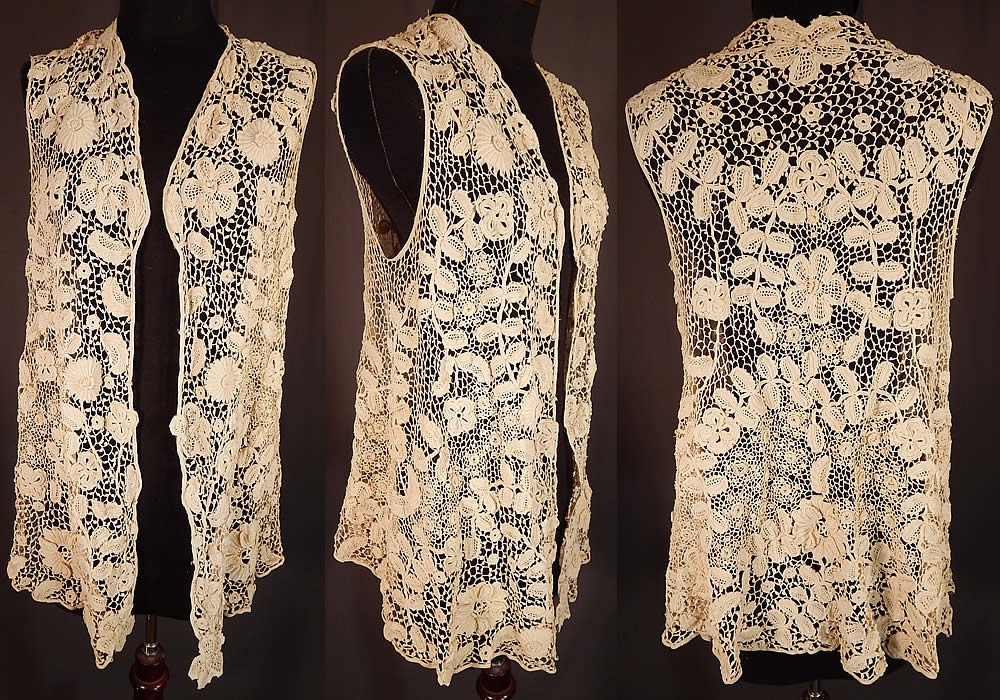 Edwardian Antique White Irish Crochet Lace Long Sleeveless Vest Jacket