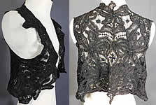 Victorian Antique Black Battenburg Lace Short Sleeveless Vest Crop Bolero Jacket