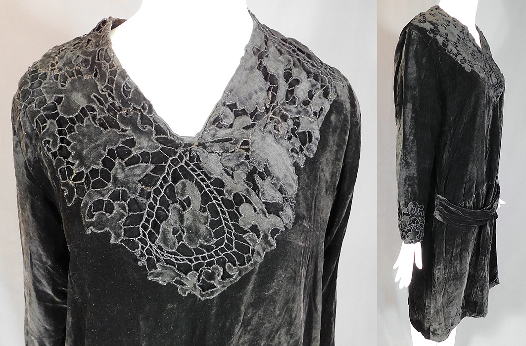 Vintage Black Velvet Drawn Cutwork Lace Collar Cuffs Drop Waist Dress