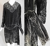 Vintage Black Velvet Drawn Cutwork Lace Collar Cuffs Belted Drop Waist Dress
