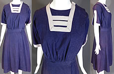 Edwardian Blue Flannel Wool Bathing Beauty Costume Swimsuit Dress Bloomers Vtg