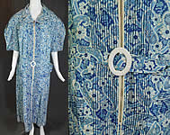 Vintage Town & Cottage Blue Paisley Print Cotton Belted House Dress Large Size