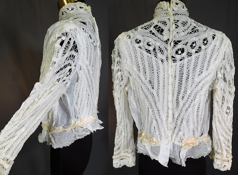 Victorian White Battenburg Tape Lace Crochet Trim Bodice Blouse Top