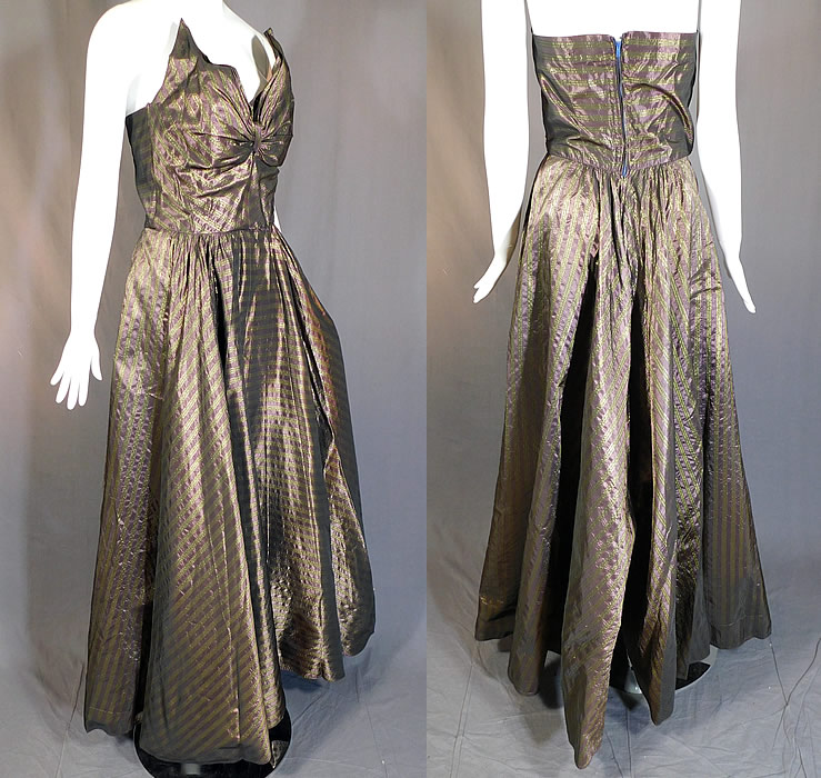 Vintage Diminutives Designed By Martini Taffeta Striped Strapless Gown Formal Dress