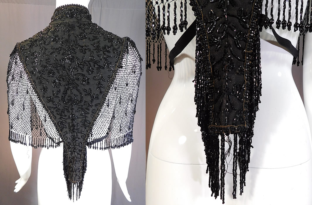 Victorian Black Silk Jet Beaded Fringe Mesh Mantle Dolman Pelerine Cloak Cape