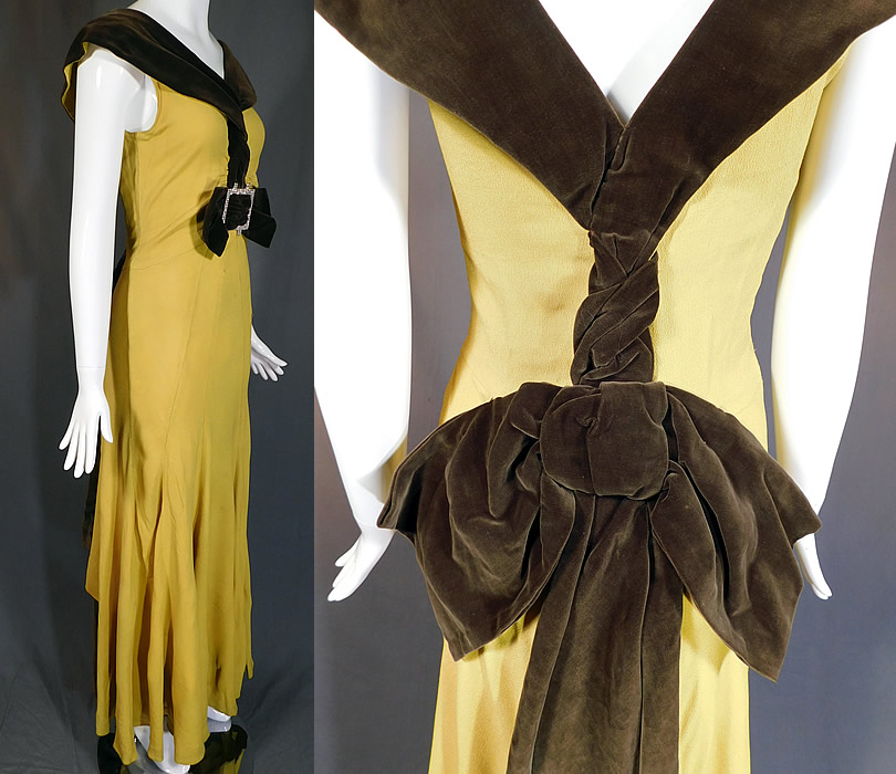 Vintage Chartreuse Crepe Brown Velvet Belted Bow Rhinestone Evening Gown Dress