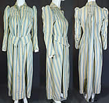 Victorian Striped Print Flannel Wool Watteau Wrapper Workwear Morning Dress