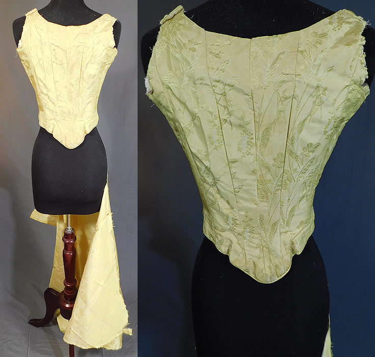 Victorian Yellow Silk Damask Floral Wheat Brocade Ball Gown Corset Bodice & Fabric