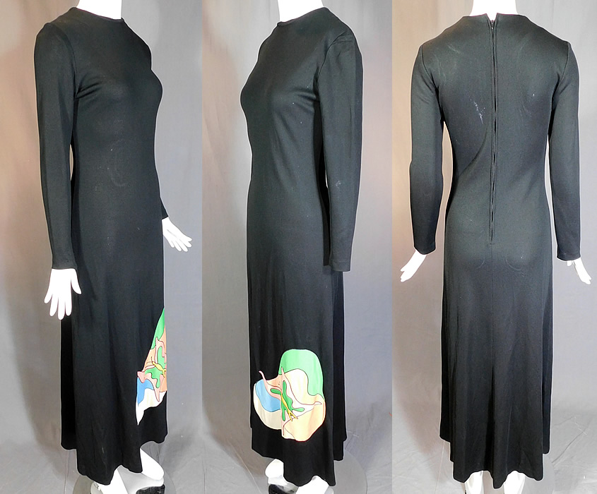 Vintage Mr. Boots Limited Editions Black Knit Neon Butterfly Mod Maxi Dress