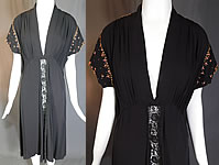 Vintage Black Silk Charmeuse Gold Studded Coral Rhinestone Beaded Cocktail Dress