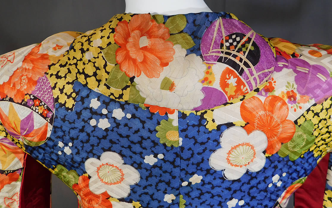 Vintage Japanese Colorful Floral Fan Silk Screen Haori Kimono Robe Jacket