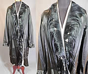 Vintage Art Deco Black Silk Fur Trim Flapper Cocoon Opera Coat Evening Jacket