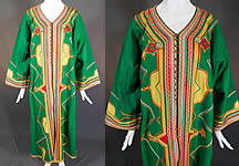 Vintage Ottoman Turkish Kaftan Caftan Coat Green Yellow Wool Trim Boho Robe