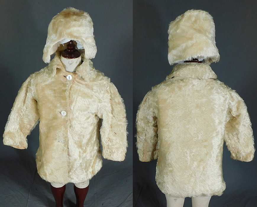 Victorian Childrens Curly White Mohair Fur Winter Coat & Cap Hat