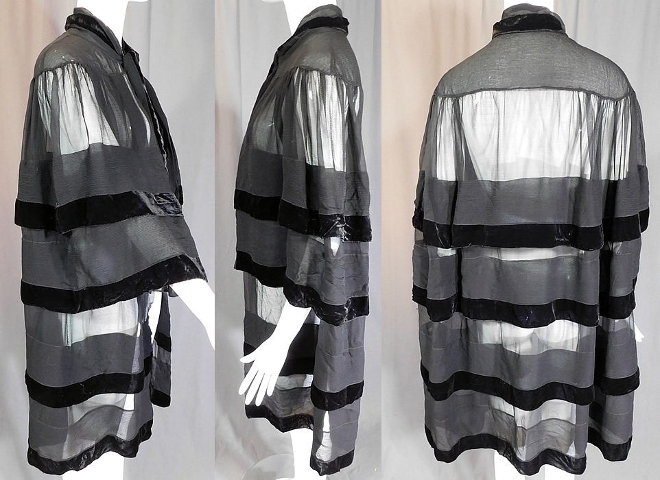 Vintage Art Deco Black Silk Chiffon Velvet Trim Flapper Evening Cloak Cape