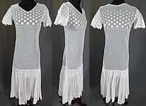 Vintage Polka Dot Embroidered White Tulle Net Pleated Shift Drop Waist Dress