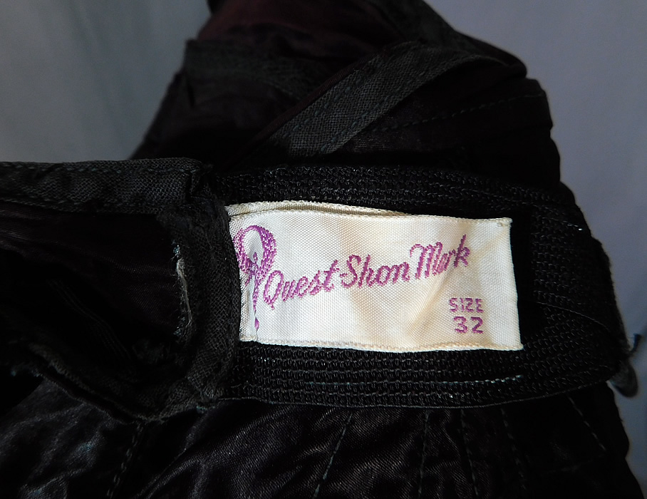 Vintage Quest-Shon Mark Black Silk Satin Stitched Cup Conical Cone Brassiere Bullet Bra	