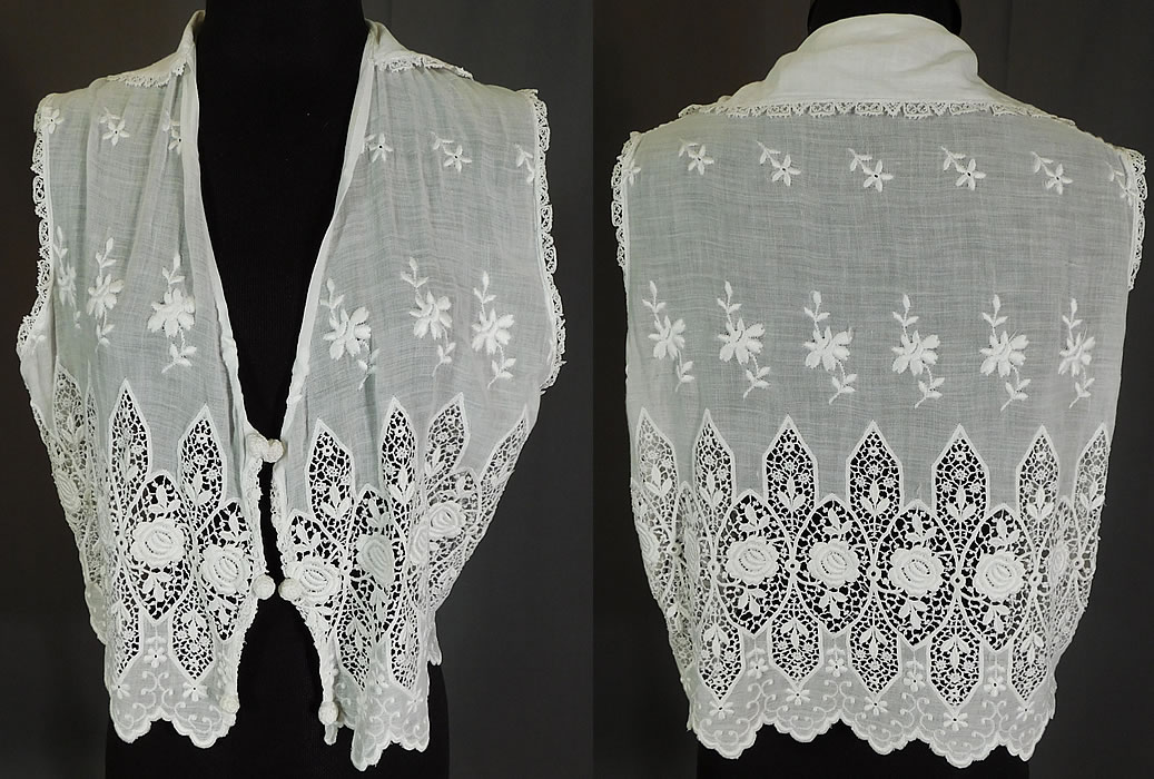 Edwardian Embroidered White Cotton Batiste Lace Sleeveless Vest Jacket Blouse Top