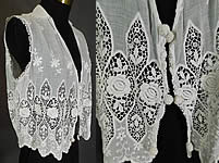 Edwardian Embroidered White Cotton Batiste Lace Sleeveless Vest Jacket Blouse