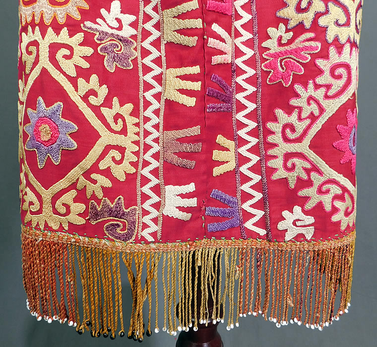 Vintage Antique Uzbekistan Suzani Embroidered Tribal Textile Half Apron Skirt