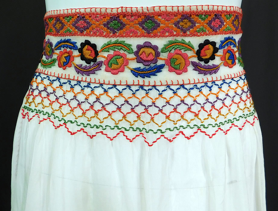 Vintage White Cotton Colorful Floral Embroidered Smocking Boho Peasant Half Apron Skirt