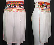 Vintage White Cotton Colorful Embroidery Smocking Boho Peasant Half Apron Skirt