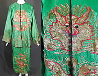 Antique Chinese Dragon Gold Couching Embroidery Opera Robe Skirt Costume
