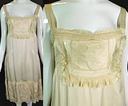 Vintage Cream Silk Butterfly Rosette Ribon Lace Chemise Slip Dress