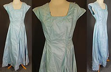 Vintage Edwardian Cornflower Blue Starched Crisp Cotton Full Slip Dress