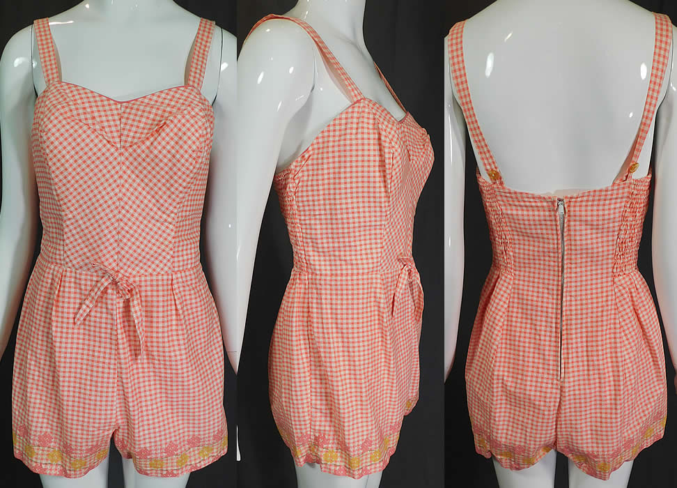 Vintage Styled by Lee Swimplay Suits Gingham Cotton Romper Playsuit Swimsuit